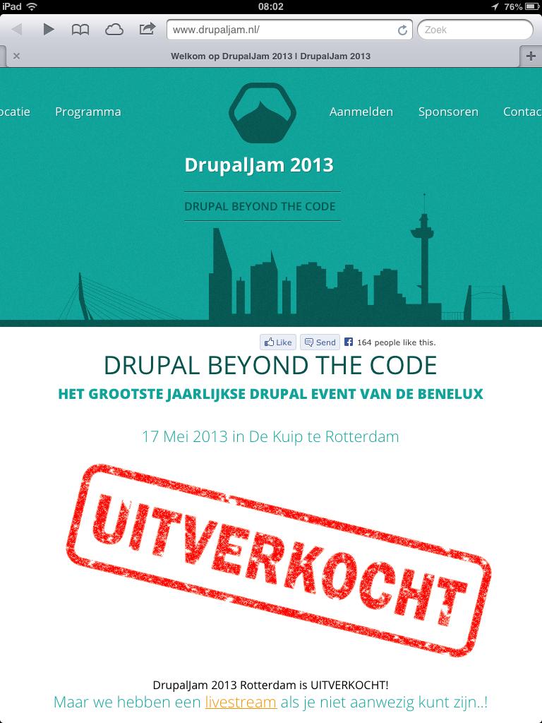DrupalJam uitverkocht
